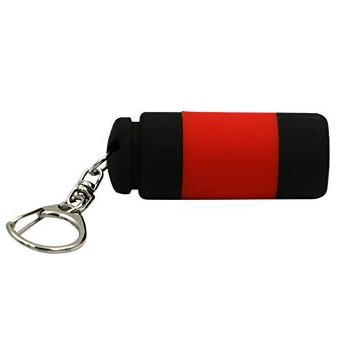 MMOOVV Ultra small mini flashlight LED light USB rechargeable pocket keychain flashlight waterproof (Rot)