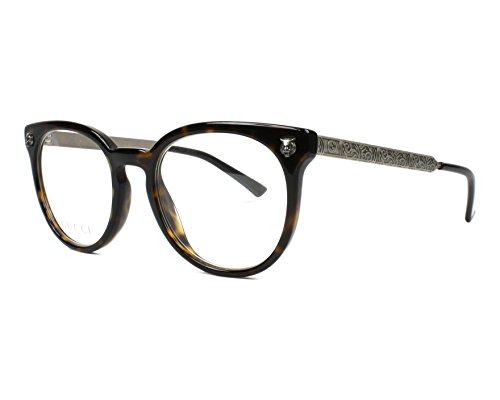 Gucci GG0219O-002-50 Brillengestell, Dunkel Havana/Bedruckt Messing, 50.0 Unisex Adulto
