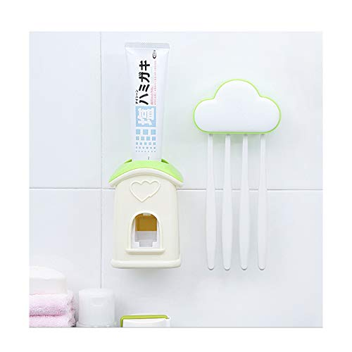 Toothbrush Holder Automatic Toothpaste Dispenser Set Dustproof with Super Sticky Suction Pad Wall Mounted Kids Hands Free Toothpaste Squeezer for Family Washroom,Green