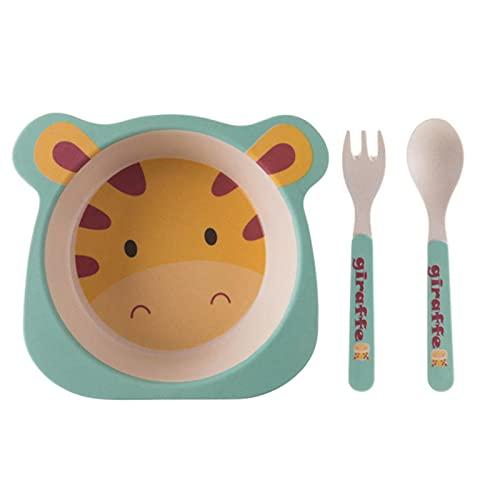 WXDC 3 Pcs/set Bamboo Fiber Baby Cartoon Eating Tableware, Kids Dinner Plate, Toddler Feeding Dishes