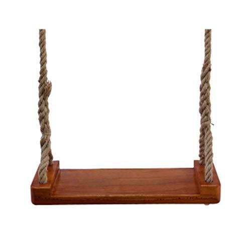 Columpio Jardin Árbol de madera sólida oscilación asiento del columpio interior y exterior de la cuerda de cáñamo regulable en altura silla colgante de madera oscilación Placa for niños de los niños a