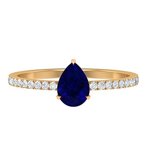 Anillo de compromiso de diamantes y zafiros azules de 1 ct, anillo de compromiso de diamantes HI-SI, anillo de corte de pera de 5 x 7 mm, 14K Oro amarillo, Zafiro Azul, Size:EU 61
