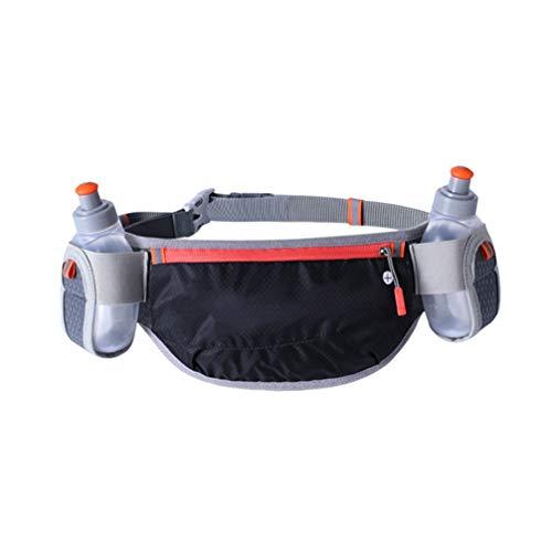 Pochete com suporte para garrafa de água para corrida, esportes, ciclismo, ao ar livre (preto)