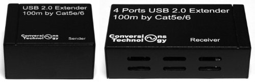 Conversions Technology USB Extender Over IP 300 Feet with 4 USB Over CAT5e/6 (CT-USB-100-4)