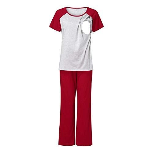 Camisón Premamá Mujeres Verano Otoño Ropa De Maternidad De Manga Corta Camiseta De Bebé De Enfermería Tops + Pantalones Conjunto De Pijamas Traje para Mujeres Embarazadas-Rd_XXL_China