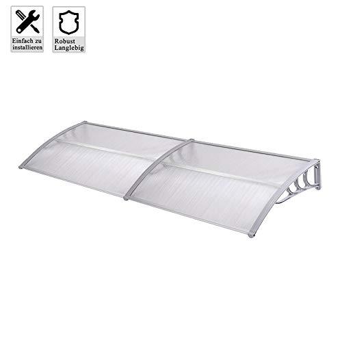 Froadp 200x100cm Pultvordach Vordach Türdach Sonnenschutz Pultbogenvordach Vordach Regenschutz Überdachung(Grau)