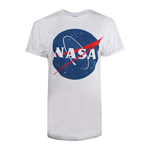 Nasa Circle Logo Camiseta, Blanco (White White), 38 (Talla del Fabricante: Small) para Mujer