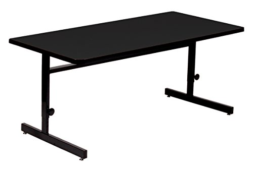 Correll 30'x72' Adjustable Height Training & Computer Tables, Black Granite High Pressure Laminate, Computer Work Station (CSA3072-07)