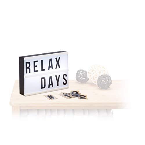Relaxdays Light Box, Leuchtbox mit 60 Zeichen, Buchstaben, Zahlen, LED Leuchtschild, HBT: 15 x 21 x 4 cm, weiß/schwarz
