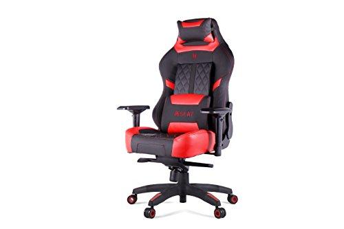 No. Ergonomische gaming/bureaustoel met lendenwervel en hoofdsteun, hoogwaardig pvc leer met carbonvezel accenten, rood/zwart