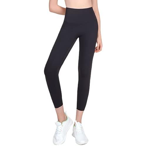 QTJY Pantalones de Yoga elásticos de Secado rápido, Leggings Deportivos Suaves de Cintura Alta para Correr al Aire Libre, Pantalones Deportivos de Cadera de melocotón A S