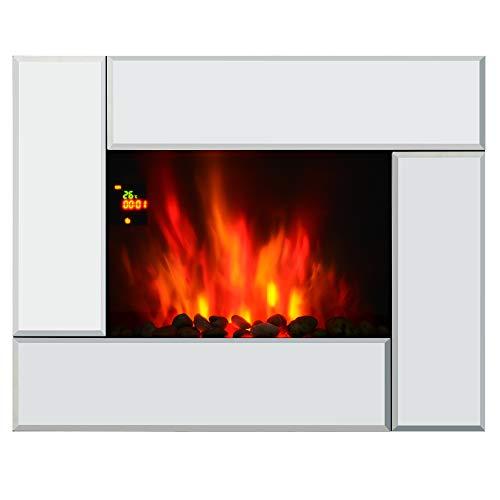 Homcom Chimenea Eléctrica de Pared 7 Color Control Remoto Programable 7 días 900/1800W Calefactor Eléctrico con Iluminación LED 66x52x10.7cm Acero y Vidrio