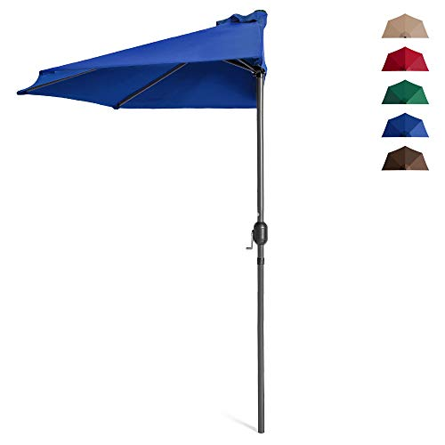Best Choice Products 9ft Steel Half Patio Umbrella for Backyard, Deck, Garden w/ 5 Ribs, Crank Mechanism, UV- and Water-Resistant Fabric - Blue
