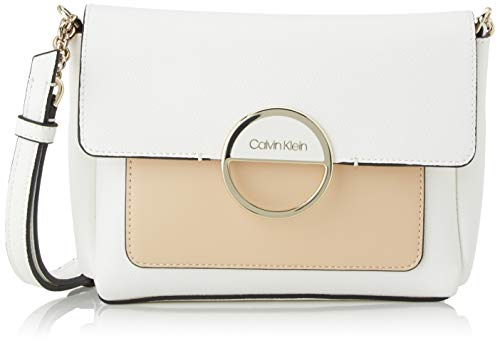 Calvin Klein Damen DISC Shoulder Bag SM Umhängetasche Weiß (White Mix)