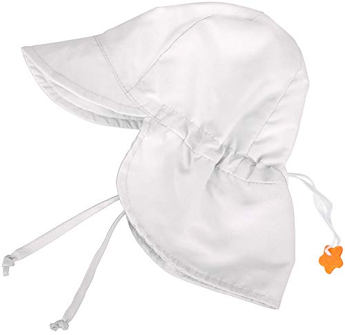 SimpliKids UPF 50+ UV Ray Sun Protection Baby Hat w/Neck Flap, White2, 0-12 Months