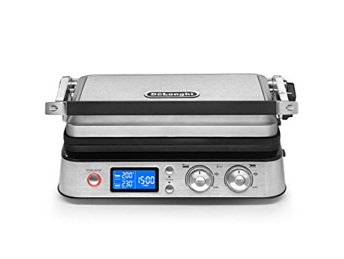 Delonghi Multigrill cgh1020d Electric Contact Grill – Barbecue (Table, Black, Metallic, Rectangular, Cookbook, Gloves)