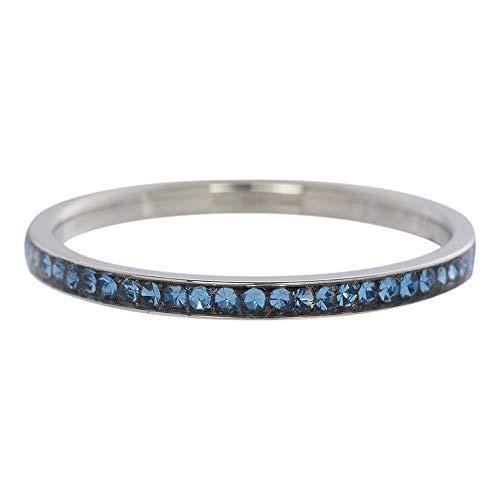 iXXXi Füllring ZIRKONIA KRISTALL silber blau - 2 mm Größe Ringgröße 20