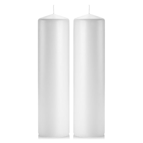 White Pillar Candles - Set of 2 Unscented Pillar – 3x12 inches for Wedding Centerpiece Candle, Home Decor and Holiday Celebrations