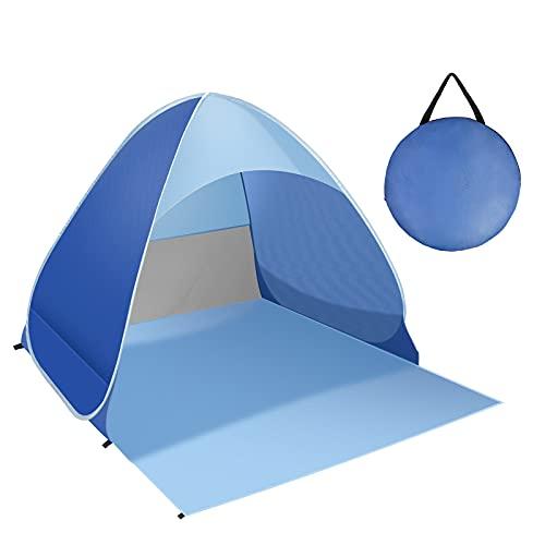 Strandmuschel, Pop Up Strandzelt Tragbares Extra Light Automatisches Strandzelt UPF 50+ Sun Shelter UV-Schutz & Wasserdicht Beach Zelt für Familie, Strand, Garten, Camping