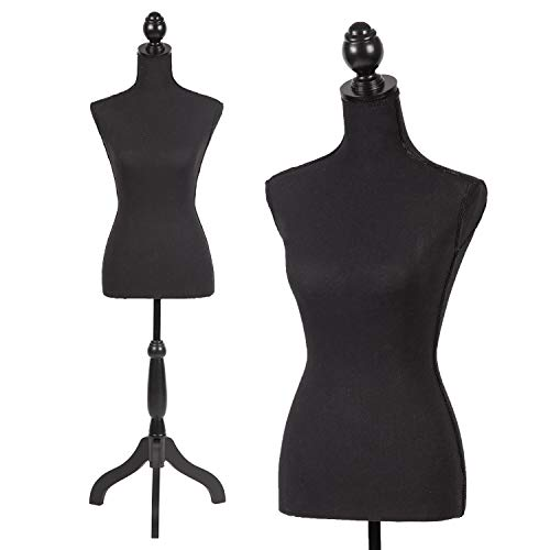 Female Mannequin Torso Dress Form Manikin Body with Wooden Tripod Base Stand Adjustable 60-67 Inch for Sewing Dressmakers Dress Jewelry Display,Black