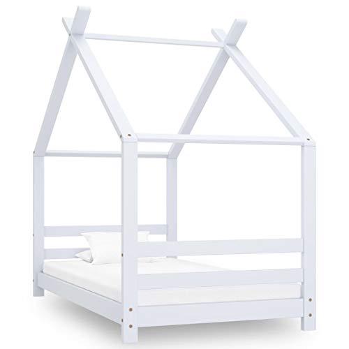vidaXL Madera Maciza de Pino Estructura de Cama Infantil para Niños Pequeños Forma de Casita Casa Dormitorio Robusta Duradera Blanco 80x160 cm