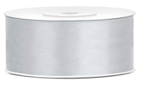 Libetui Breites Satinband Silber 25mm Schleifenband Silber Satin Dekoband Silber Geschenkband Deko Band Geschenkverpackung Silberhochzeit Rolle 25m Farbe Silber