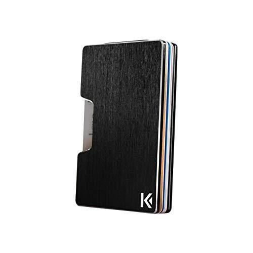 KARCAJ Classic - Cartera Tarjetero Minimalista con Protección Antirrobo RFID y NFC. Tarjetero Metálico para Tarjetas de Crédito y Billetes para Hombre y Mujer (Black Edition)