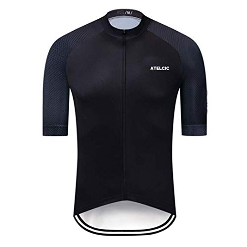 Atelcic Maillot para Ciclismo MTB Spinning Ciclismo de Carretera, Traje de Ciclismo Manga Corta Verano para Hombre y Mujer (Negro, L)