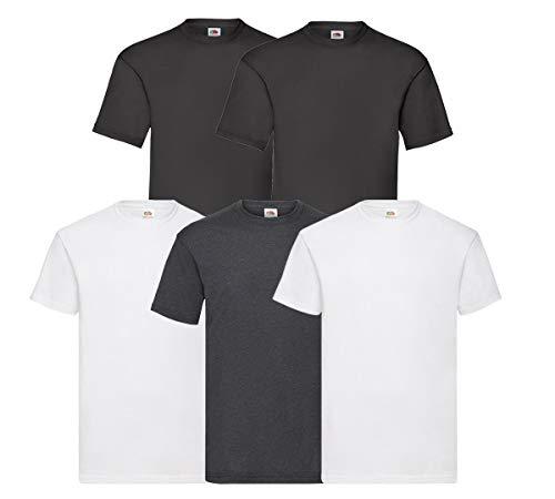 Fruit of the Loom Original T - Pack de 5 camisetas para hombre 2weiß2schwarz1d Heather XXXL