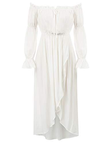 KANCY KOLE - Vestido de manga larga para mujer, estilo vintage, estilo gótico, sin hombros Blanco XXL
