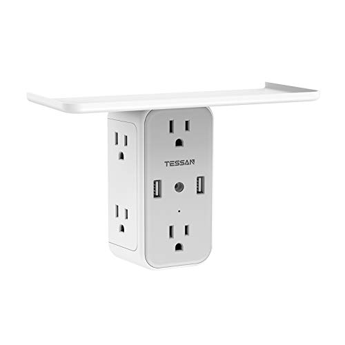 Multi Plug Outlet Extender with Shelf, TESSAN USB Wall Charger with 6 Electrical Socket, Multiple Outlet Expander Surge Protector, Wall Mount Outlet Splitter for Home Dorm Essentials