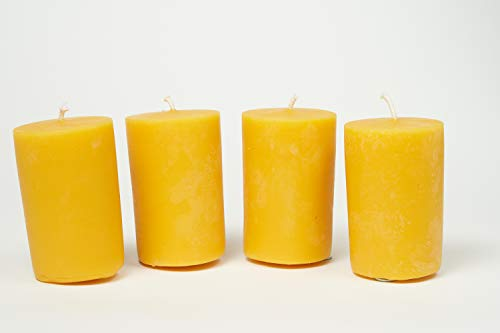 Imkerei Freese 4 Stumpenkerzen (9cm x 6cm) aus 100% Bienenwachs vom Imker
