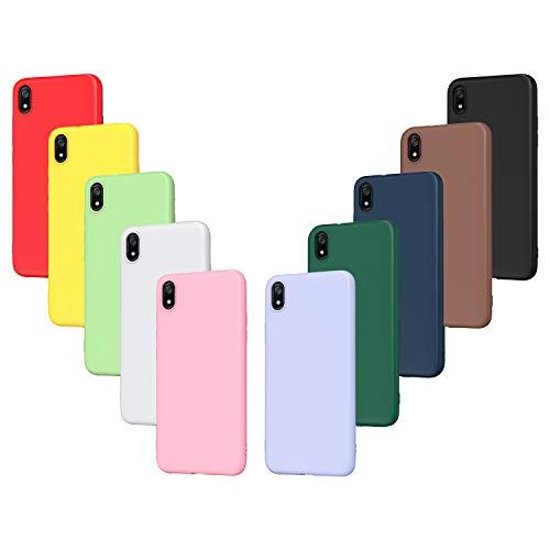 ivoler 10 x Funda para Xiaomi Redmi 7A, Ultra Fina Carcasa Silicona TPU Protector Flexible Funda (Negro, Blanco, Azul, Verde, Verde Oscuro, Rosa, Rojo, Amarillo, Marrón, Púrpura)