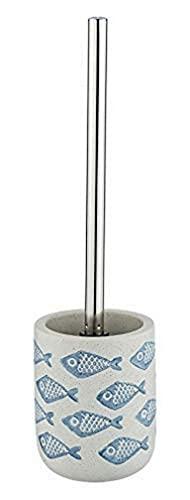 WENKO Portascopino WC Aquamarin - Portascopino WC, Ceramica, 10 x 40 x 10 cm, Beige