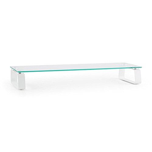 auna M-Riser 2 - Monitorständer, TV-Board, Notebooktisch, Bildschirmerhöhung, bis 20 kg, Rutschfeste Silikonfüße, 5 mm Glas, erhöht Bildschirme um 8,5 cm, ca. 56 x 8 x 21 cm (BxHxT), weiß