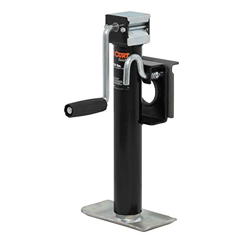 CURT 28302 Weld-On Bracket-Style Swivel Trailer Jack, 2,000 lbs. 10 Inches Vertical Travel