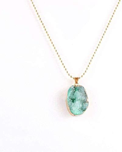 huangshuhua Collares Pendientes de Piedra para Mujer Collar Colgante de Cristal Verde Irregular con Borde Dorado Envuelto con Regalo de joyería de Cadena Dorada