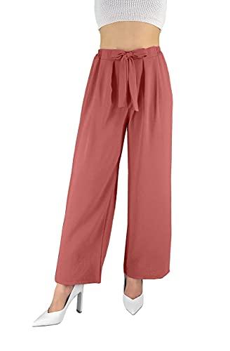 JOPHY & CO. Pantaloni Donna Elegante a Vita Alta con Fiocco Decorato (cod. 6303) (Rosa Antico, L)