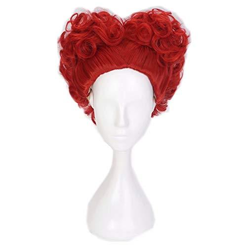 NiceLisa - Parrucca da donna in maschera, per cosplay, per feste serali, stile cuore, colore rosso