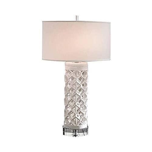 FHKBK Lámpara de Mesa de Noche, lámpara de Mesa de cerámica, lámpara de Escritorio con Recortes geométricos LED, Sala de Estar Blanca, Moderna, Americana, Simplicidad, Entrada, dormitori