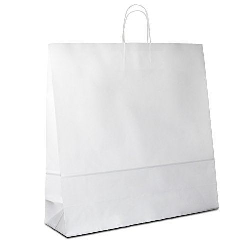 150 x Papiertragetaschen weiss 45+17x48 cm | stabile Papiertüten | Papierbeutel Kordelhenkel | Papiertaschen Groß | Kraftpapiertüten | HUTNER