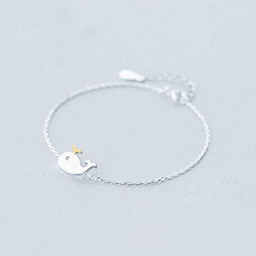 DGFGCS Pulsera de Plata para Mujer Pulsera De Ballena con Dibujo De Alambre De Joyería De Moda De Plata Esterlina Auténtica 925 Sólida para Regalo para Niñas Y Mujeres