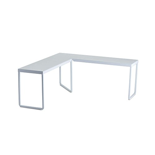"Design Ideas Franklin Corner Riser – Desktop or Kitchen Cabinet Shelf – White, 14.8"" x 14.8"" x 5.9"""