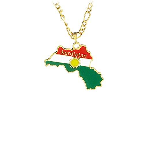 Golden Kurdistan Bereich Karte Anhänger Halskette Karte Halsketten Schmuck