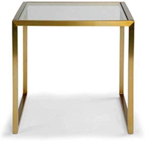 WYQ - Mesa de metal cuadrada de 50 x 45 x 45 cm multifunción resistente a los arañazos pequeña mesa de hotel, apartamento, mesa de té, mesa de cristal, fuerte y robusta