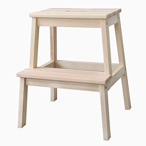 GUOXY Multifunktionsleiter Stuhl Massiv Hocker Aus Holz Regal Sitze Ständer 2 Stufen Dual-Use-Dienstprogramm Möbel,Holz Farbe