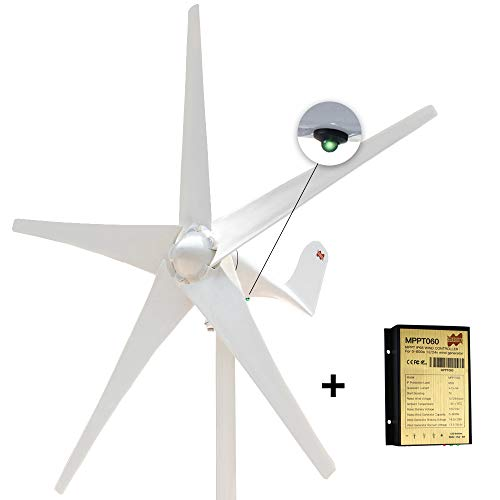 Marsrock 400W Horizontal Wind Turbine Generator Economy Windmill Turbine Generator for Wind Solar Hybrid System 2m/s Low Star-up Wind Speed AC 12Volt or 24Vollt 5 Blades (400Watt 24Volt)