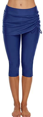Ecupper Pantaloni da Bangno Donna Legging con Gonna da Nuoto Pandaloncini per Piscina Legging Sportivi 3/4 Blu Navy 50