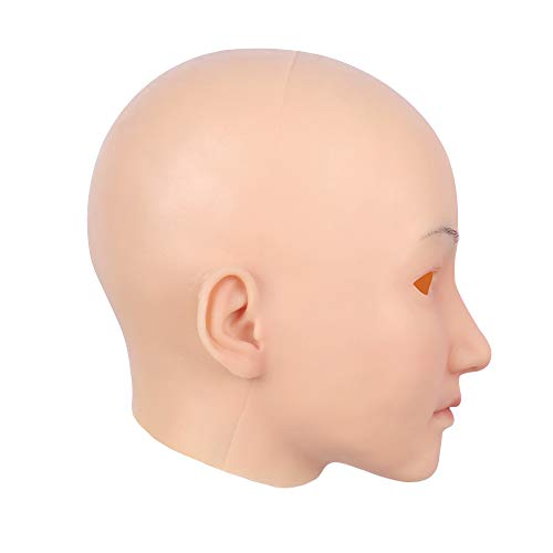 Soft Silicone Realistic Female Head Mask Hand-Made Face for Crossdresser Transgender Halloween Costumes 3G Ivory White