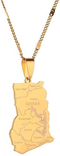 Liuqingzhou Co.,ltd Collar de Acero Inoxidable Color Dorado Mapa de Ghana Collares Pendientes Joyería de Encanto de Ghana